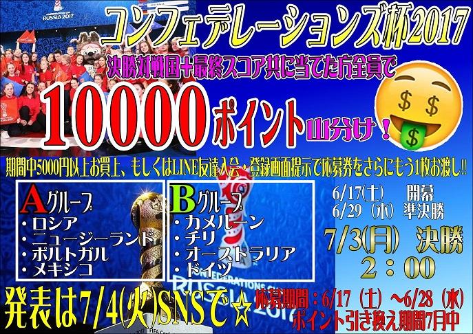 コンフェデレーションズカップ 決勝対戦国&最終スコア予想イベント開催!!